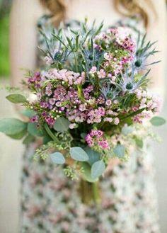 Beautiful Hand Tied Wedding Bouquet Featuring: Blue Eryngium Thistle, Pink Waxflower, Pink Gypsophila (Baby's Breath) & Green Seeded Eucalyptus