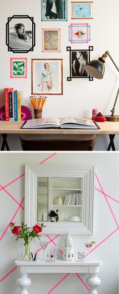 Diy: Crear marcos de fotos con masking tape o washi tape Bedroom Hacks, Diy Home Decor Bedroom, Room Decor, Diy On A Budget, Decorating On A Budget, Washi Tape Frame, Tape Wall Art, Ideas Hogar, Diy Wall