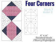 Starry Night Quilt Sampler Block 9-- Four Corners