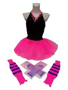 Neon 80s Skirt Set with leg warmers, mesh gloves and beaded necklace