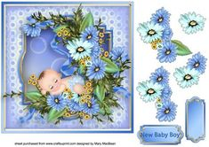 Decoupage card front with a cute little sleeping baby surrounded by pretty flowers. There is a New Baby Boy sentiment or a blank tag for your own message.