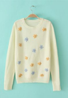 Beige Quilting Round Neck Long Sleeve Print TOPS