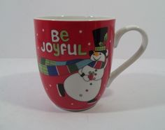 FITZ AND FLOYD BE JOYFUL Cup/Mug 12 oz  BE MERRY COLLECTION Jolly Snowman