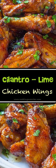 Cilantro lime chicken wings are full of flavor, a healthier option and super easy clean up. You will love this recipe: it's fast, easy, and flavorful! Appetizer Recipes, Dinner Recipes, Appetizers, Appetizer Dessert, Frango Chicken, Cilantro Lime Chicken, Chipotle Chicken, Cooking Recipes, Healthy Recipes