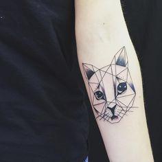 Miaw:) #tattoo #ink #line #black #shade #cat #arm