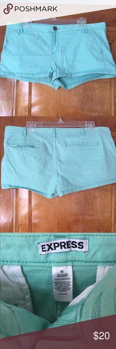 EXPRESS SIZE 12 GREEN SHORTS Express size 12 green shorts. Worn twice!! Accepting offers!! Express Shorts