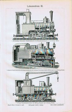 Antique Print Cho-ChoTrains-Locomotives-Lokomotiven Germany Meyers 1905 $9.99