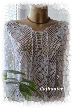 Delicadezas en crochet Gabriela: Blusa larga con transpariencias ideal para jornadas en el mar