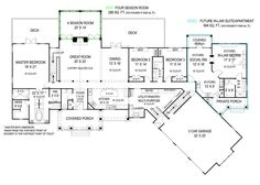 First Floor: Sq. Second Floor: 488 Sq. Pepperwood In-law suite Ranch House Plan - First Floor This is an amazing floor plan! I can already picture me and my family here! Perfect with the in-law suite off to the side! House Plans One Story, Ranch House Plans, Dream House Plans, House Floor Plans, Ranch Floor Plans, The Plan, How To Plan, Plan Plan, In Law House