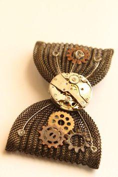 Steampunk Watch Mechanism Brass Chainmaille Hair Bow/Barrette. $42.00, via Etsy.