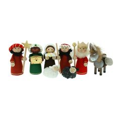 """Nativity Set - 3"""" Wooden - 10 Pc's w/felt clothing- Holy family with 3 Kings and manger animals. Classic wooden manger scene for Christmas."""