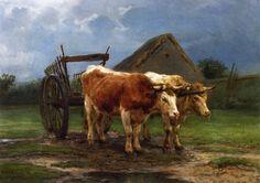 Oxen Pulling a Cart by Rosa Bonheur (1822-1899) a Bordeaux-born animal painter.