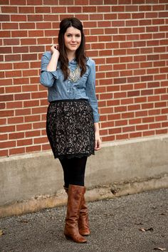 love mixing feminine and masculine, denim + lace