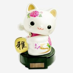 Solar Powered Lucky Cat - Peony