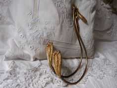 Antique French gilded bronze curtain drapery tiebacks holdbacks swing arm tie backs drapery window project 1800s salvaged antique hardware by MyFrenchAntiqueShop on Etsy
