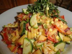 Fresh Vegetable Salad with Parmesan Vinaigrette. This makes a great side dish to any meal. The variety of colors also makes a great presentation. You can use other herbs instead of basil, for example; cilantro or chives. #GottoBeNC