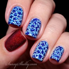 4th of July nail art // red glitter accent nail + blue and white stars