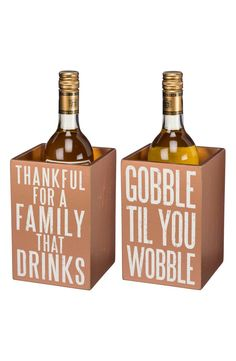 Before heading out to Thanksgiving dinner, remember to bring this wooden wine bottle box that makes a perfect gift for the host or hostess.
