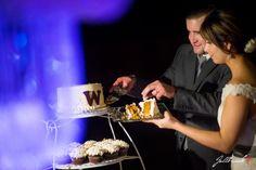 Picture of wedding cake cutting Wedding of Jared and Erika in Yuma, Arizona