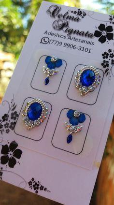 Gem Nails, Shellac Nails, Bridal Nails Designs, Nail Designs, Nail Jewels, Swarovski Nails, Manicure Y Pedicure, Fabulous Nails, Diamond Earrings