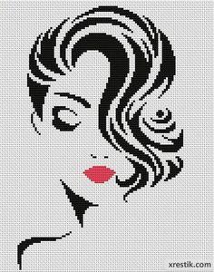 Стильная девушка №6. Размер в крестиках: 111х141. Количество оттенков: 2. Фон не зашивается! Контурная схема для вышивки красивой и стильной девушки.