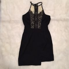 Black and Cream Lace Bodycon Dress (size S) Black and Cream Lace High Neck Bodycon Dress (size S or 8 Aus) - barely worn, great condition Dresses Mini