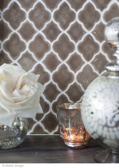 Moroccan Mosaic in Suede    Walker Zanger  #tile #arabesque