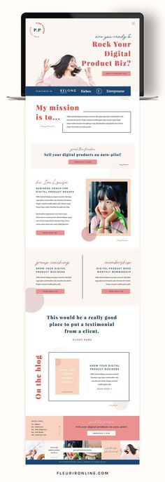 Pink Pepper is a colorful Showit website template for coaches, consultants and creatives. With over 15 pages including a sales page and email landing pages. Website Design Inspiration, Website Design Layout, Design Blog, Layout Design, Website Designs, Web Layout, Design Web, Personal Website Design, Fashion Website Design