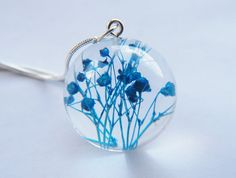 Real Flower Necklace Blue Resin Ball Orb by NaturalPrettyThings, $48.00