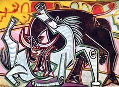 Courses de Taureaux (Corrida)  Oil Painting Reproduction On Canvas  by Pablo Ruiz Picasso in 1934.