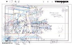 Original animation layouts from the first ending sequence of Kill la Kill, featured in the Kill la Kill Animation Originals Book Vol. 01; The contrast between the negative and positive spaces guides the viewer eye through out the whole composition. Despite the drawings being illustrated in a rather simple way, the overlapping of the objects creates an interesting composition.