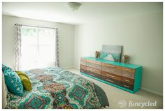 Bright Aqua Bedroom Makeover by FunCycled www,funcycled.com