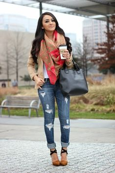 Love this fall look, especially the scarf.