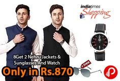Indiatimes offers RPB Combo Of Men 2 Nehru Jackets, Sunglasses And Watch only in Rs.870.  http://www.paisebachaoindia.com/get-2-nehru-jackets-sunglasses-and-watch-only-in-rs-870-indiatimes/