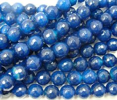 Dark blue agate faceted round beads (10mm, about 38 beads)