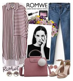 """Romwe Dolphin Hem Striped Shirt Dress"" by euafyl ❤ liked on Polyvore featuring NARS Cosmetics, MAC Cosmetics and Dolce&Gabbana"