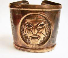 Vintage Tribal Copper Hand Crafted Cuff by GretelsTreasures