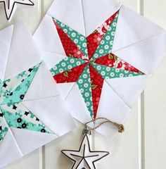 Christmas Star Quilt Block Pattern Create a festive Christmas quilt block by showing off your paper piecing skills. This paper piecing tutorial is complete with a printable block pattern! Free Paper Piecing Patterns, Star Quilt Patterns, Pattern Blocks, Diy Craft Projects, Sewing Projects, Christmas Quilt Patterns, Christmas Quilting Projects, Star Quilt Blocks, Star Quilts