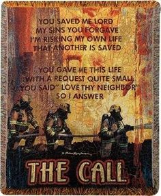 The Call Firefighter Tapestry Blanket Throw USA Made by Manual Weavers… Firefighter Crafts, Firefighter Family, Firefighter Paramedic, Firefighter Pictures, Wildland Firefighter, Female Firefighter, Firefighter Quotes, Volunteer Firefighter, Firefighter Tattoos