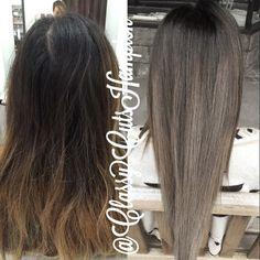 Next we have our lovely client Kara! Today we lifted up her black roots to an ash brown then glazed her ends with a smokey ash blonde! Best part No bleach used! Ash Brown Hair Balayage, Ash Blonde Hair, Balayage Hair, Ombre Hair, Blonde Ombre, Ashy Brown Hair, Ash Brown Ombre, White Ombre, Dark Blonde