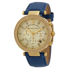 8944b173f5b1 Michael Kors Parker Chronograph Gold-tone Navy Leather Ladies Watch MK2280.  Online Shopping StoresChronographMichael ...