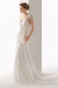 Keyhole Back V-neck Empire Wedding Dresses