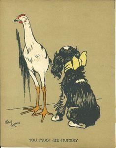 Cecil Aldin 1915 Original Antique Chicken Dog Farmyard Print Rare Matted