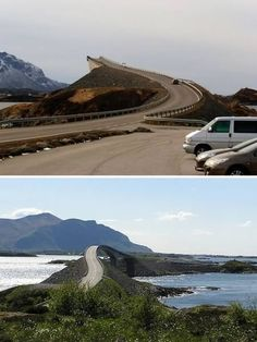 Nervous drivers (and their equally nervous passengers) beware! You should really prepare yourselves for the sight of Storseisundet Bridge in Norway. The road connection from the mainland Romsdal peninsula to the island of Averøya in Møre og Romsdal county doesn't look as if it actually connects as you drive towards it. In fact it looks very much as if you are in for an icy bath as you plummet off its 73ft height