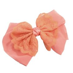 uxcell Lady Women Orange Lace Flower Pink Bowknot Barrette Hair Clip * Click on the image for additional details.(This is an Amazon affiliate link and I receive a commission for the sales)