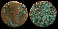 Augustus Caesar. First Emperor of Rome. 37 BC-14 AD. Bronze Coin.