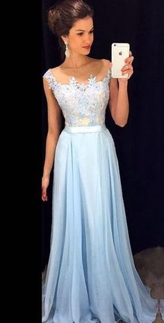 Simple Prom Gowns Light Blue Lace Evening Dresses Modest Chiffon Prom Dress For Teens
