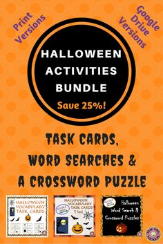 Find task cards, word searches & a crossword puzzle in this bundle of 3 Halloween products! There are Print & Google Drive versions of all the resources, which are based on 20 Halloween-themed vocabulary words. The task cards & word searches have 3 levels of difficulty so beginning level ELLs as well as native speakers can use them. A word bank for the crossword puzzle is included for students who need extra support. Answer keys & teacher notes are provided for each resource.