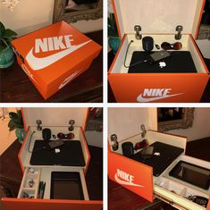 Nike Box 4 Jewelry Accessories Gadgets (Color Options Available! Boyfriend Anniversary Gifts, Birthday Gifts For Boyfriend, Boyfriend Gifts, Boyfriend Gift Basket, Anniversary Ideas, Shoe Box Design, Hypebeast Room, Sneaker Storage, Furniture Grade Plywood