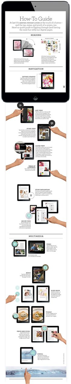 User guide ///// Navigation (How-to Guide). Martha Stewart Living Magazine for iPad Web Design, Layout Design, Design Ideas, Martha Stewart, Id Digital, Tablet Ui, Magazin Design, Ipad, Interactive Media